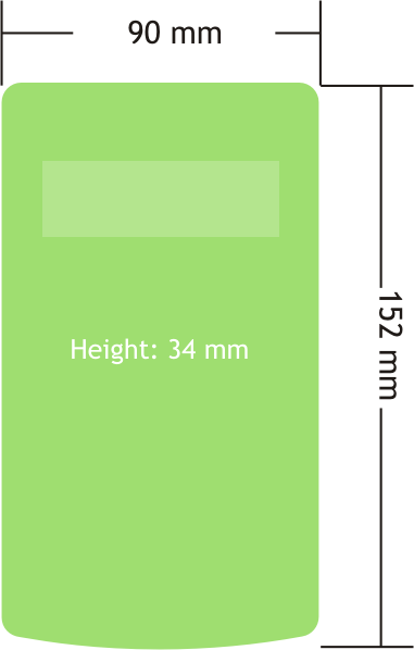 Dimensions for the handheld telemetry data display reader