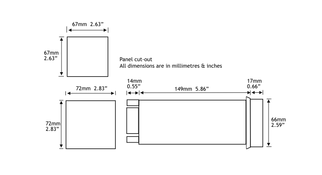 Digital Panel Meter dimensions